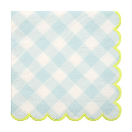 Blue Gingham Paper Napkins - Large